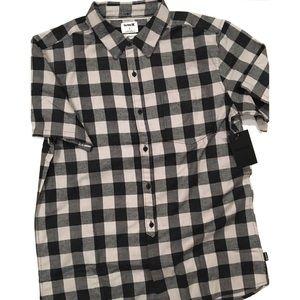Hurley Bison Woven Plaid Button Down Shirt NWT